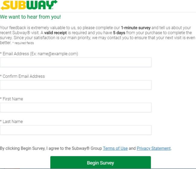 Subway Listens Survey Online 2019