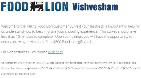 Talk To Food Lion Survey & Win $500 Coupon